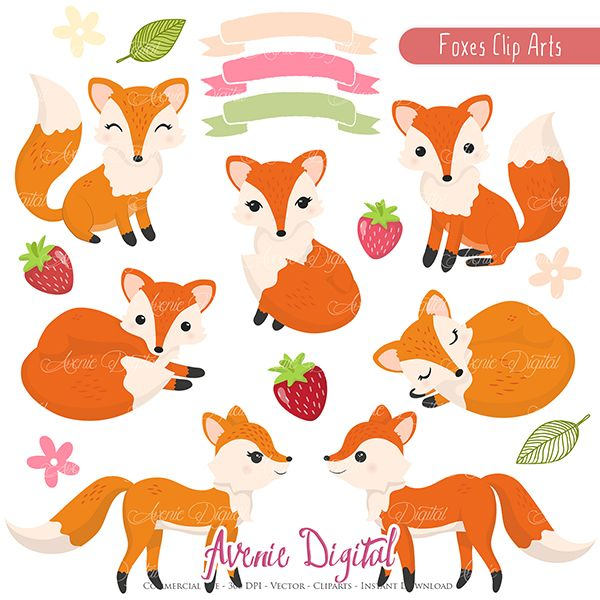 Autumn fox clipart image free library Cute Fox Clipart Scrapbook printables, Autumn clip art set for ... image free library
