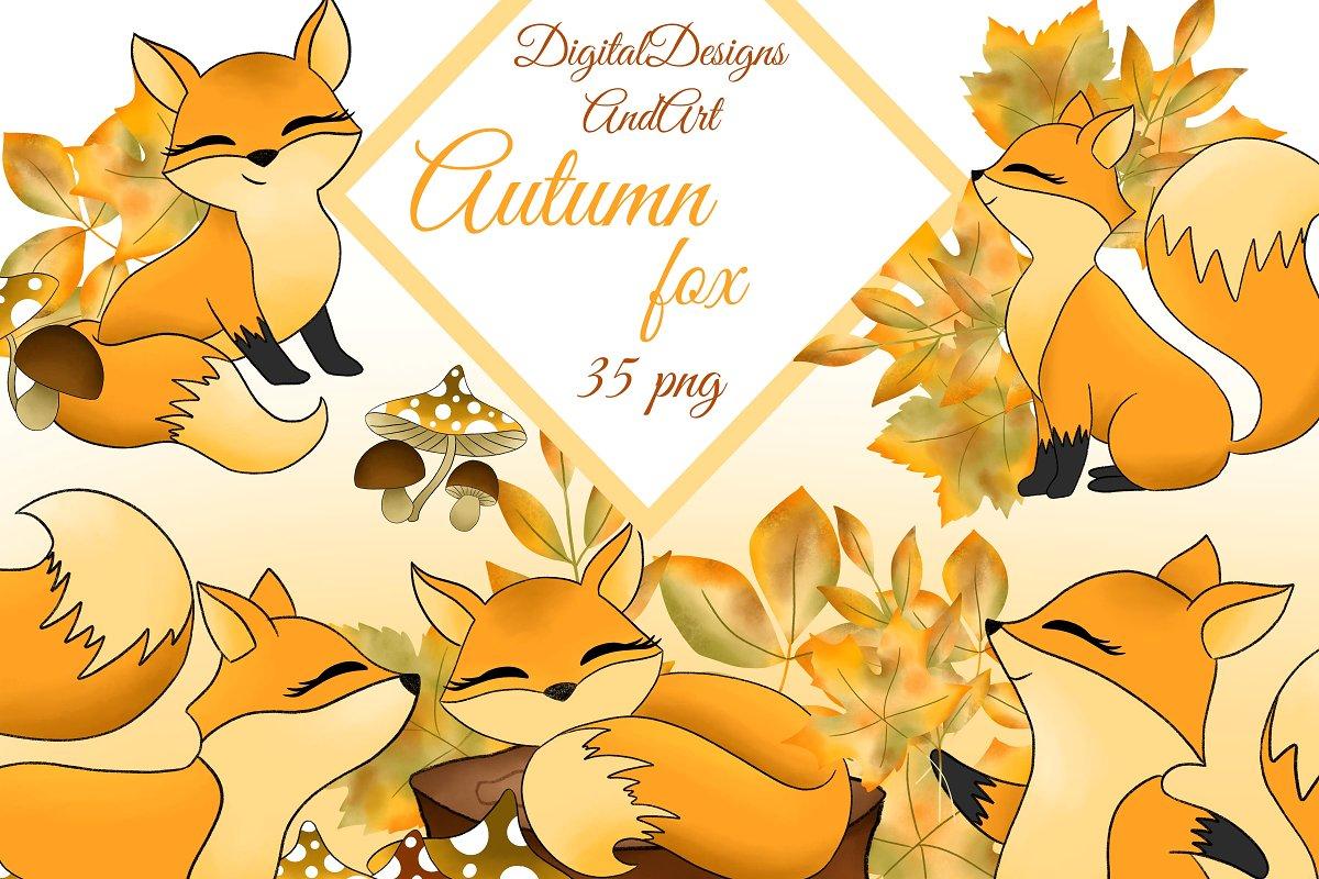 Autumn fox clipart jpg black and white stock Autumn fox clipart ~ Illustrations ~ Creative Market jpg black and white stock