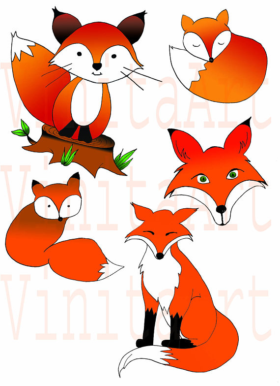 Autumn fox clipart png black and white Woodland Fox ClipArt, Fall Clipart, Autumn Clipart, Digital Clipart ... png black and white