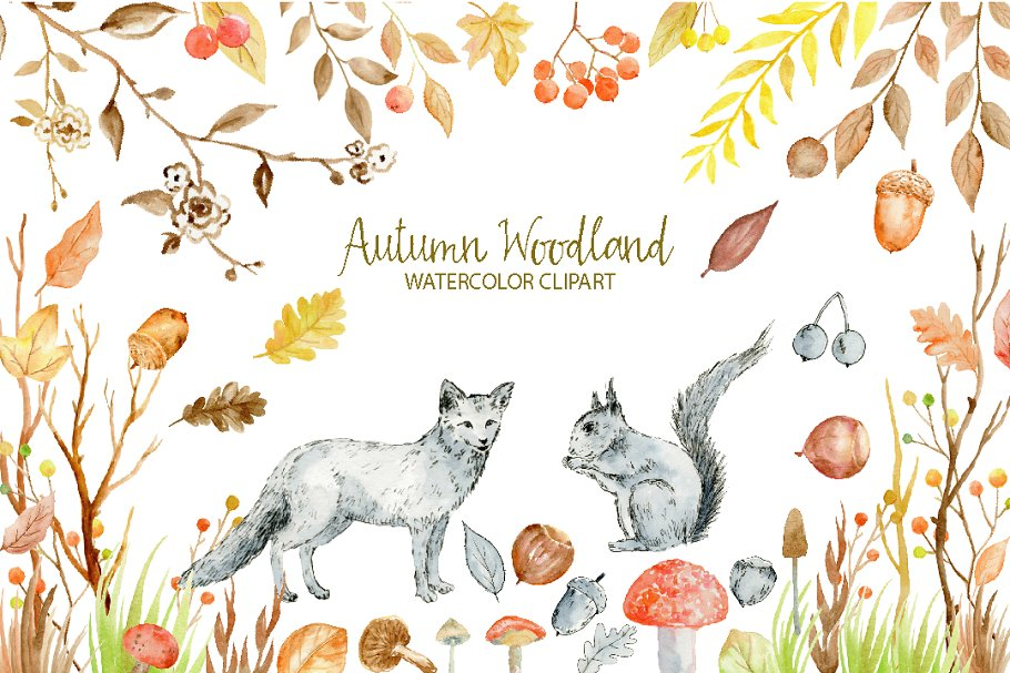 Autumn fox clipart svg royalty free library Watercolor Clipart Autumn Woodland svg royalty free library