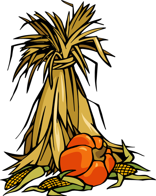Fall scene clipart hay corn stalk pumpkin