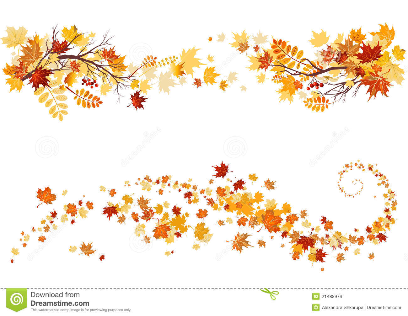Autumn leaves clipart border