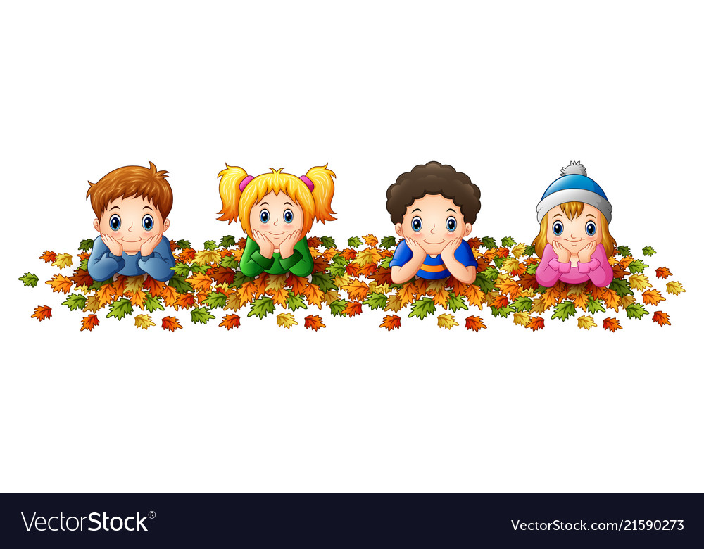 Autumn leaves kid clipart picture freeuse stock Kids playing with autumn leaves picture freeuse stock