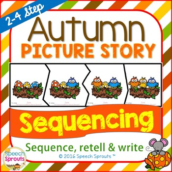 Autumn story sequence clipart black and white stock Fall Sequencing Activities with Story Retell & Writing black and white stock