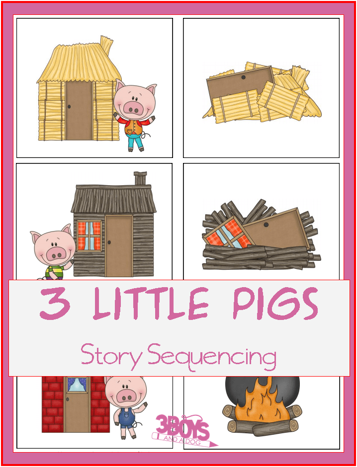 Autumn story sequence clipart picture free library Three Little Pigs Sequencing – Printable Story Cards – 3 Boys and a Dog picture free library