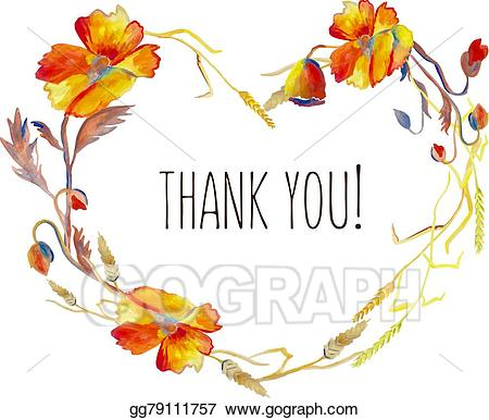 Autumn thank you clipart svg freeuse Vector Stock - Handpainted watercolor vector illustration of poppies ... svg freeuse