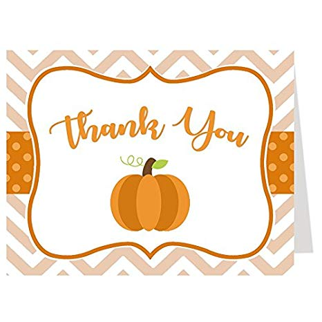 Autumn thank you clipart free Thank You Cards, Baby Shower Thank You Cards, Chevron Little Pumpkin,  White, Orange, Brown, Green, Polka Dots, Chevron Stripes, Pumpkin, Fall  Baby, ... free
