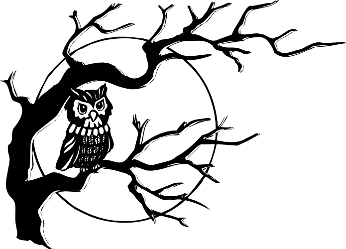 Half bare tree clipart clipart royalty free Baby Owl Clipart Black And White | Clipart Panda - Free Clipart ... clipart royalty free