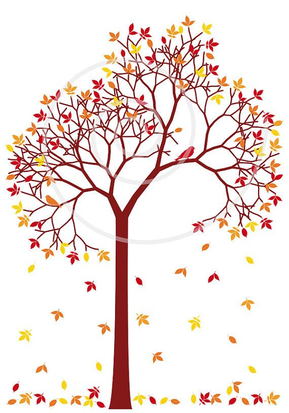 Autumn tree leaves clipart image freeuse stock Autumn tree with colorful leaves and birds, digital clip art ... image freeuse stock