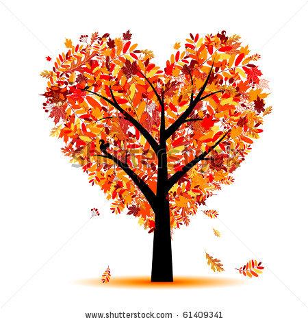Fall heart kid vector. Autumn tree with hearts clipart