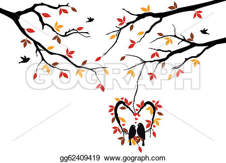 Autumn tree with hearts clipart banner freeuse download Vector Illustration - Birds on autumn tree in heart nest. EPS ... banner freeuse download