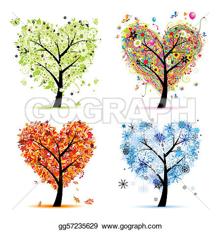 Autumn tree with hearts clipart svg free library EPS Vector - Four seasons - spring, summer, autumn, winter. art ... svg free library