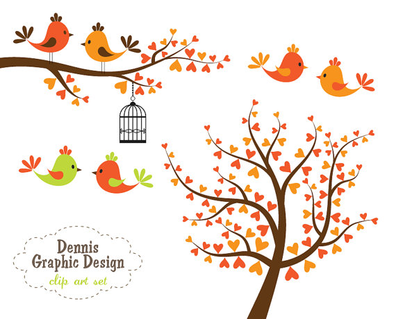 Autumn tree with hearts clipart svg library Autumn tree with 2 birds clipart - ClipartFest svg library