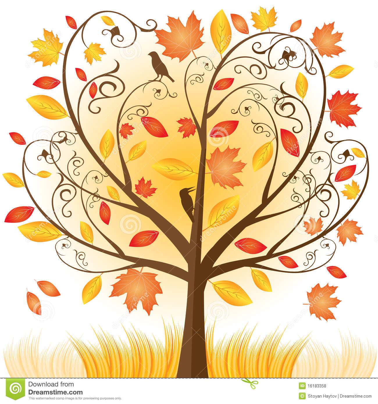Autumn tree with hearts clipart clip black and white Watercolor autumn tree clipart - ClipartFest clip black and white