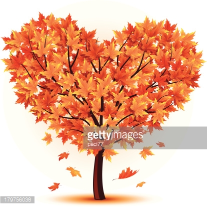 Heart vector art getty. Autumn tree with hearts clipart