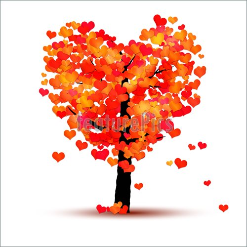 Autumn tree with hearts clipart. Fall heart kid clip