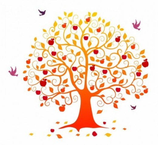 Fall heart kid clip. Autumn tree with hearts clipart