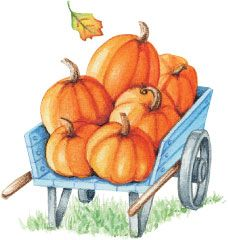 Autumn vintage wagon clipart graphic transparent stock Wagon Load of Pumpkins! Artwork by Gooseberry Patch. | Original ... graphic transparent stock