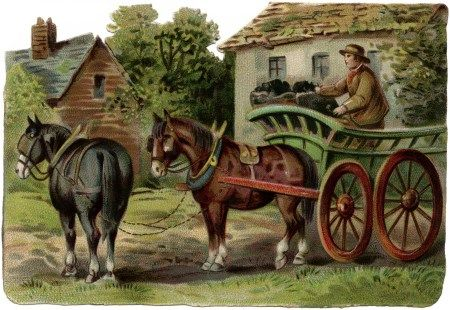 Autumn vintage wagon clipart picture library Victorian farm scene, horse drawn wagon clipart, old fashioned ... picture library