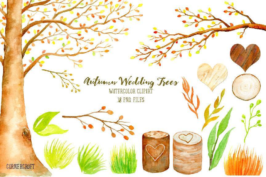 Autumn wedding clipart