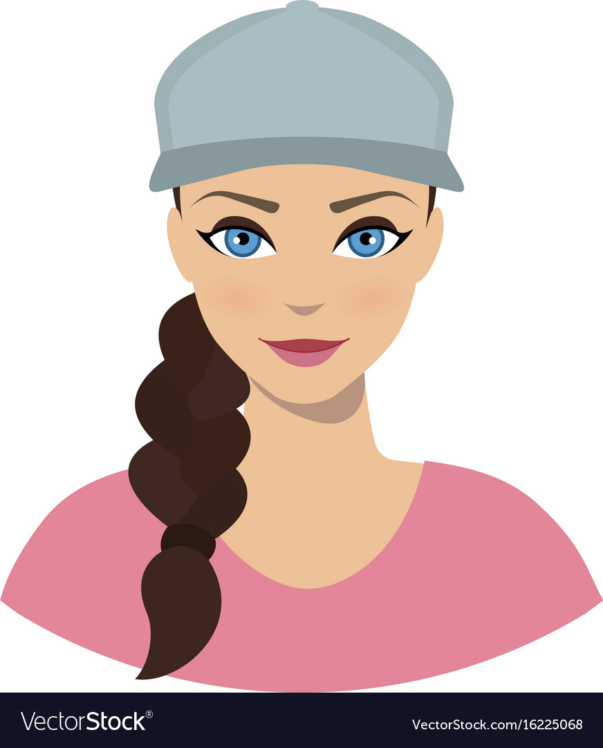 Avatar icon clipart woman wit curly hair svg library stock Avatar icon of girl in a baseball cap vector image svg library stock