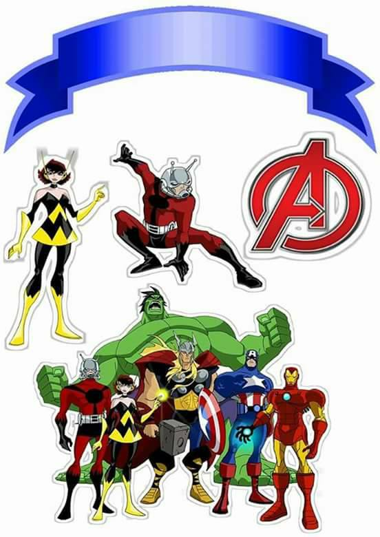 Avengers birthday 4 clipart clip art black and white library Avengers: Free Printable Cake Toppers. - Oh My Fiesta! for Geeks clip art black and white library