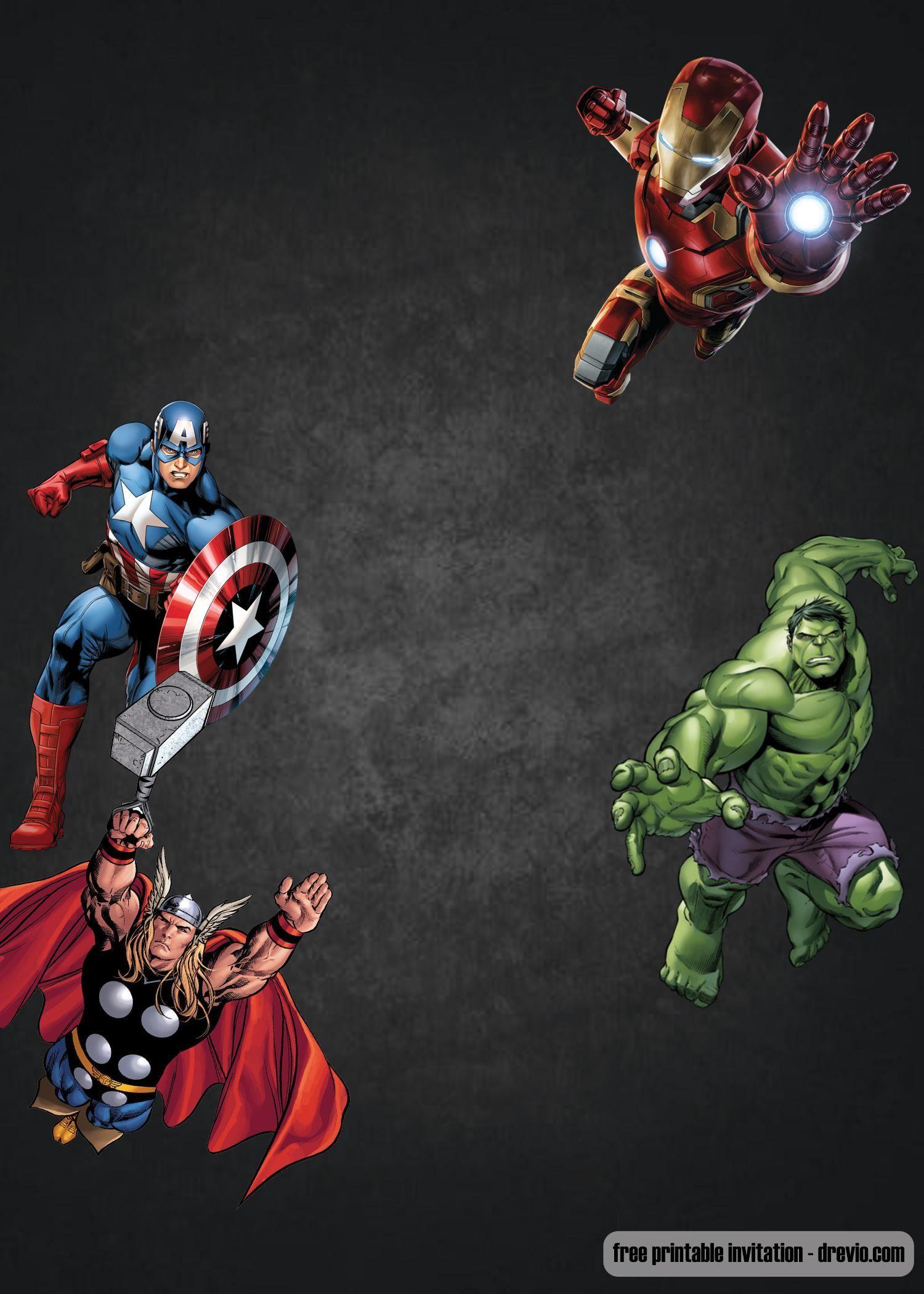 Avengers birthday 4 clipart svg black and white library FREE Chalkboard Avenger birthday invitation... | Free Printable ... svg black and white library