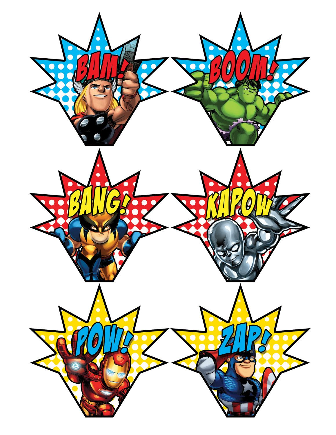 Avengers birthday 4 clipart banner freeuse download Superhero Party Signs • Boom, Pow, Zap, Bam, Pop • 11 x 17 • PC ... banner freeuse download