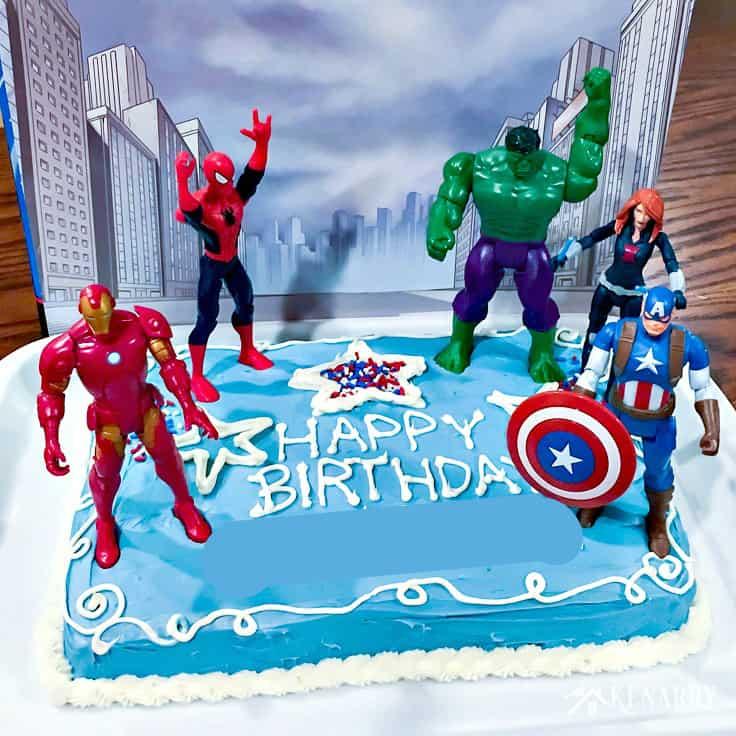 Avengers birthday 4 clipart svg black and white download Avengers Birthday Cake Idea and Party Supplies | Kenarry svg black and white download