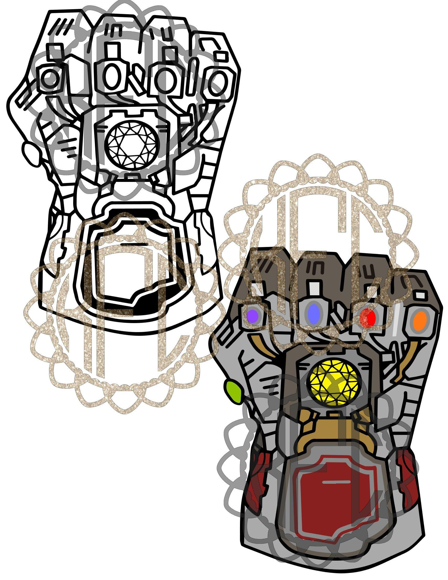 Avengers end game black and white clipart png graphic library download Avengers Endgame Electric infinity gauntlet ironman hulk version svg ... graphic library download