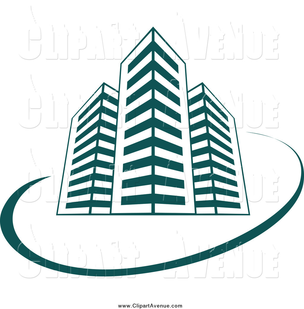 Avenue clipart banner transparent download Avenue Clipart of Teal Skyscraper Buildings and a Swoosh by Vector ... banner transparent download