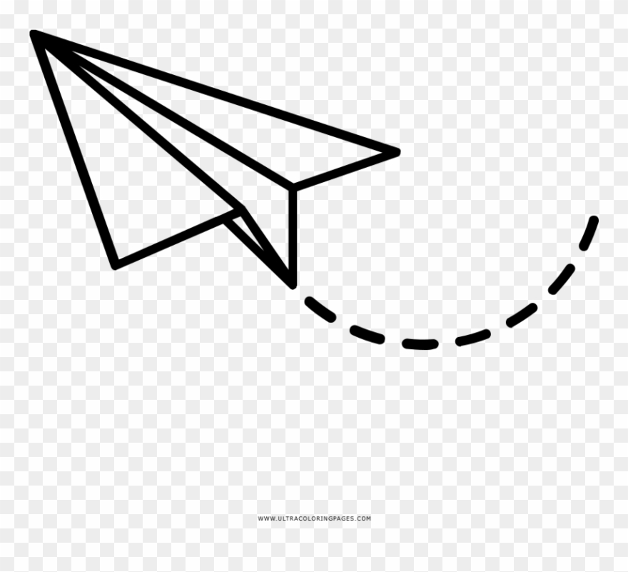 Avion clipart black and white clipart transparent stock Paper Airplane Coloring Page - Png Avion De Papel Clipart (#3408855 ... clipart transparent stock