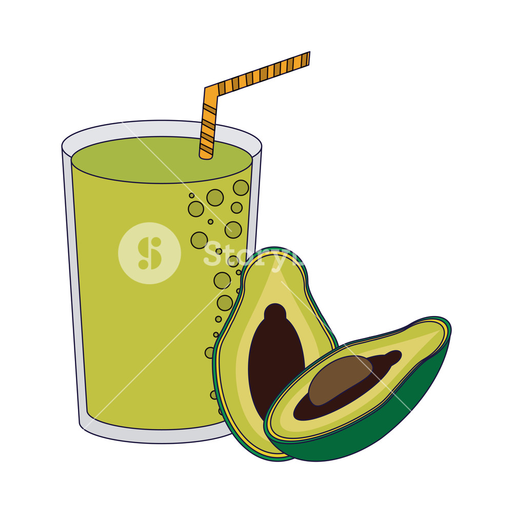 Avocado juice clipart vector royalty free Fruit juice and smoothie avocado glass cup vector illustration ... vector royalty free