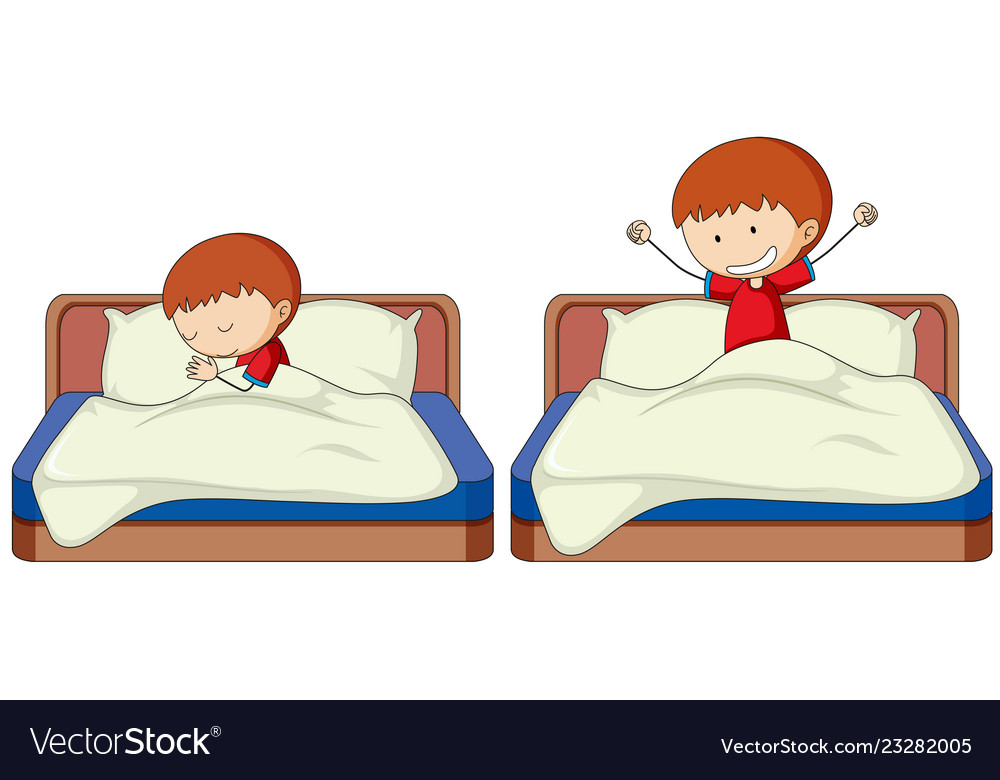 Waking up in bed clipart svg library library Set of boy sleep and wake up svg library library