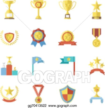Award symbols images clipart vector Vector Clipart - Flat design awards symbols and trophy icons set ... vector