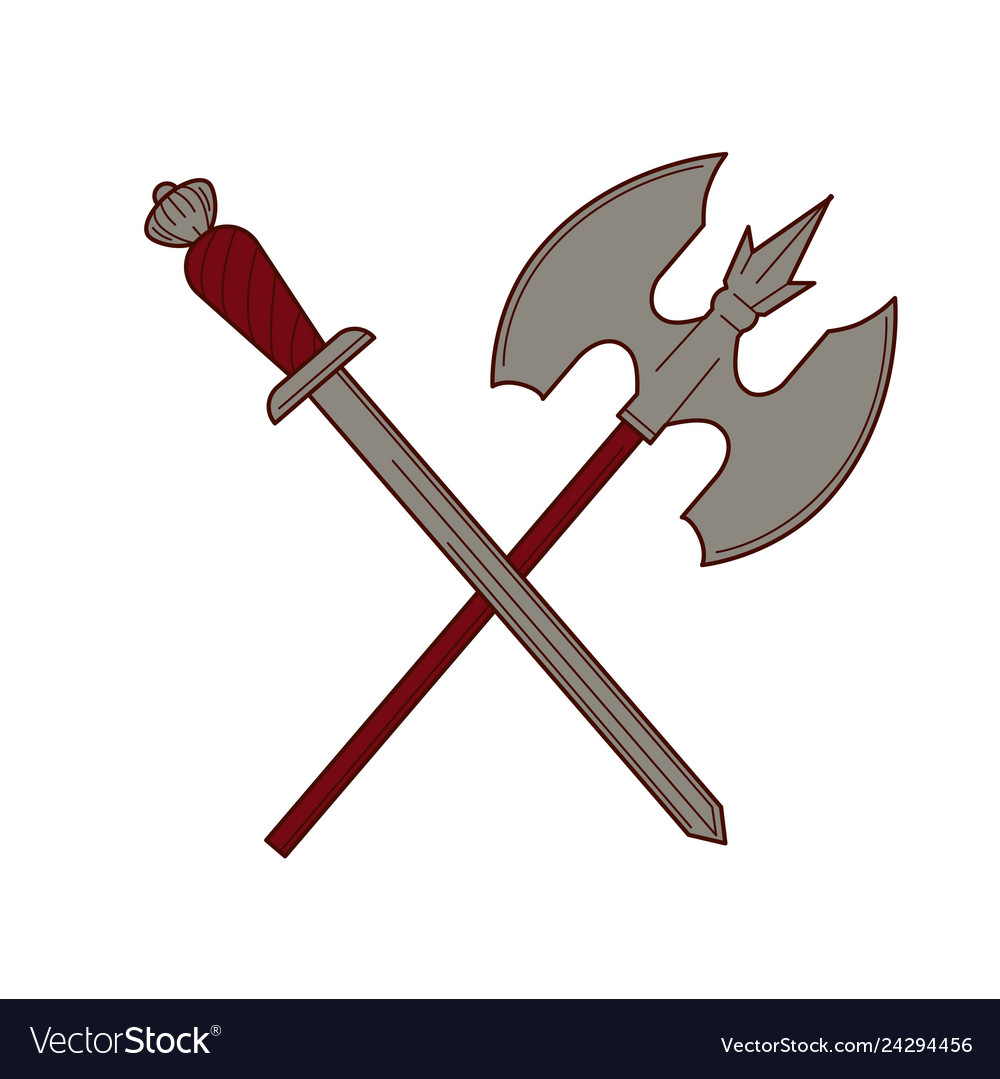 Axe power attack clipart image Sword and ax isolated knight weapon king army image