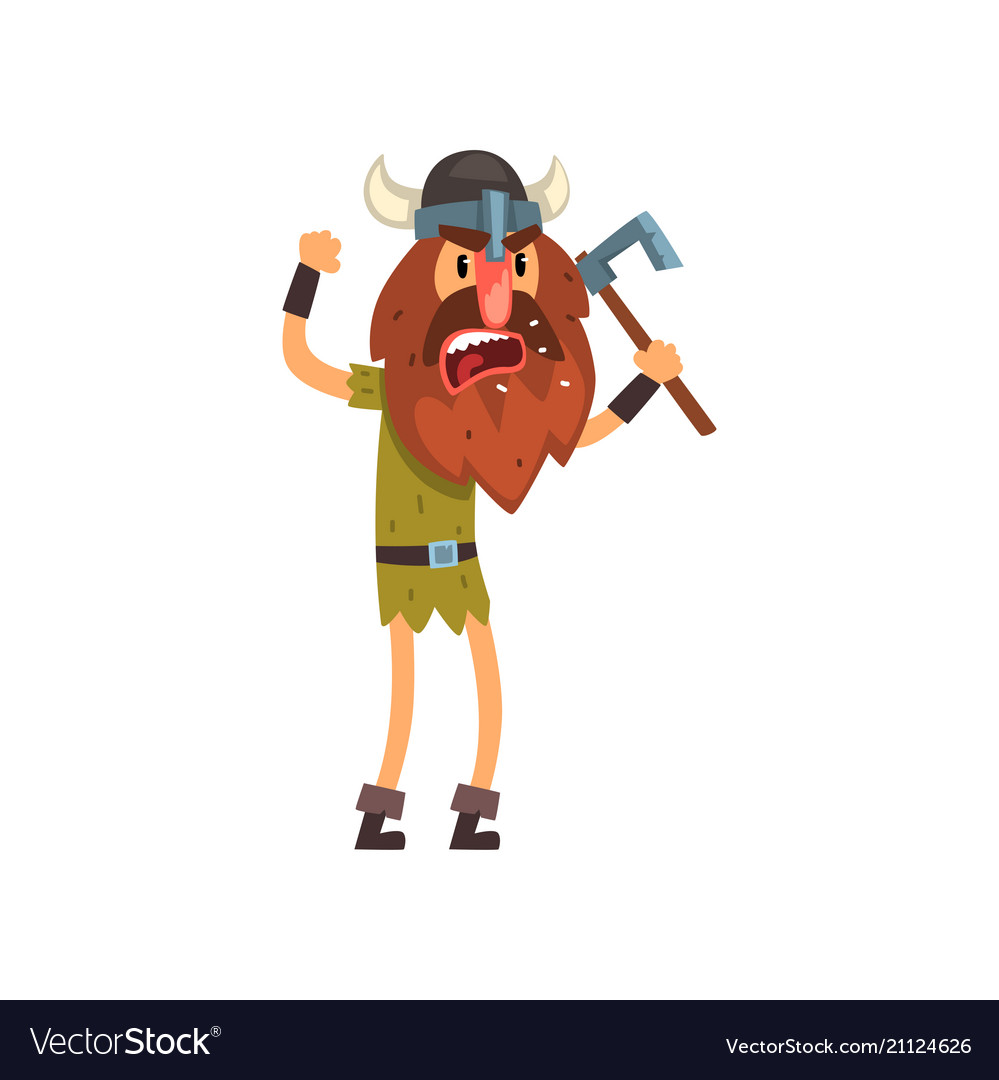 Axe power attack clipart image freeuse download Furious viking cartoon character with axe image freeuse download