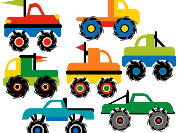Monster trucks clipart picture library download Monster truck collection clip art graphics by revidevi teaching ... picture library download