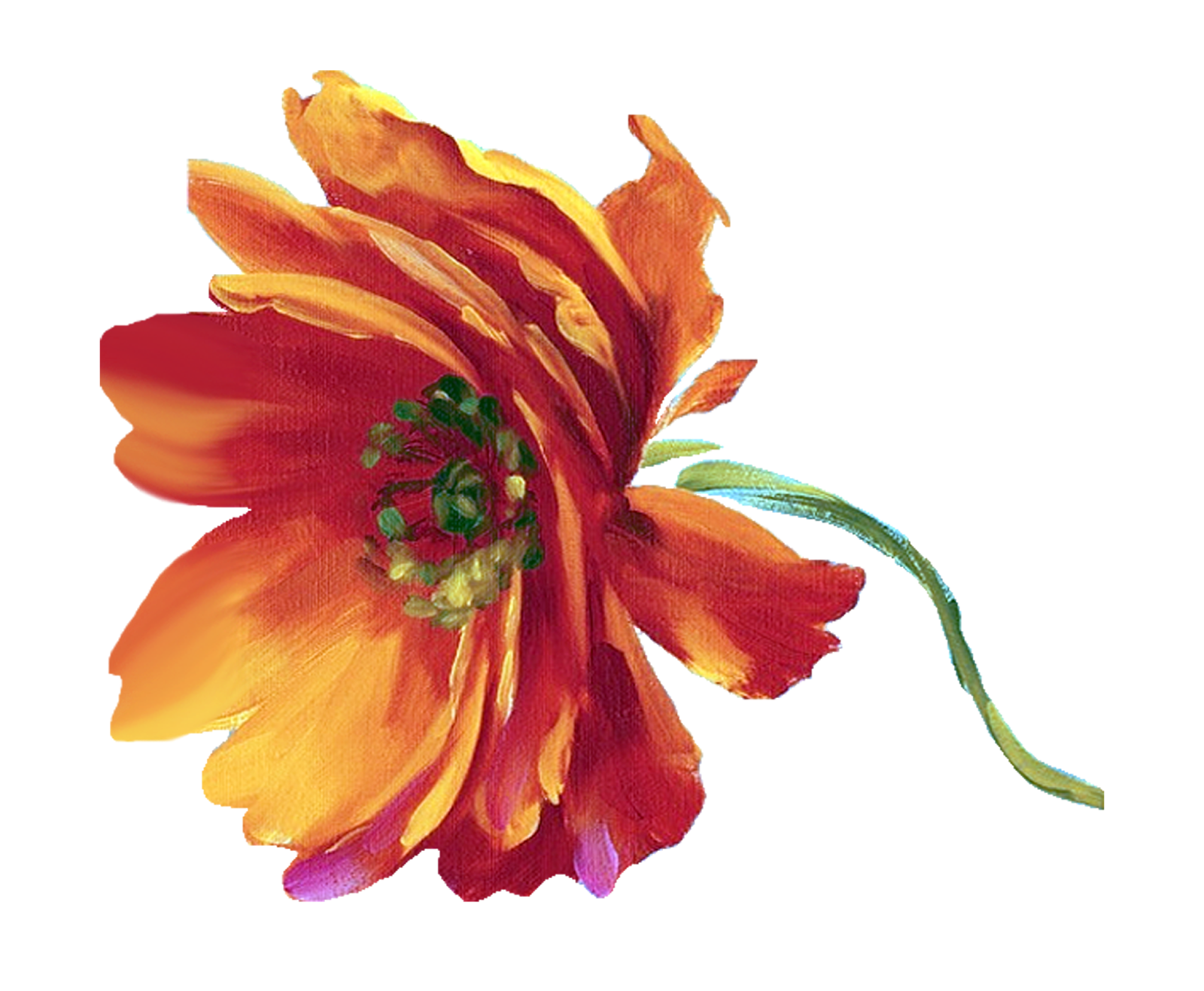 Flower reaching for sun clipart. Decoupage painting png pattern