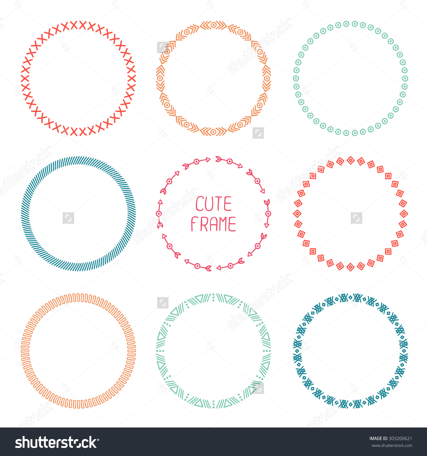 Aztec arrow circle clipart picture library download Set Of Hand Drawn Ethnic Arrows Frame. Doodles Style. Tribal ... picture library download