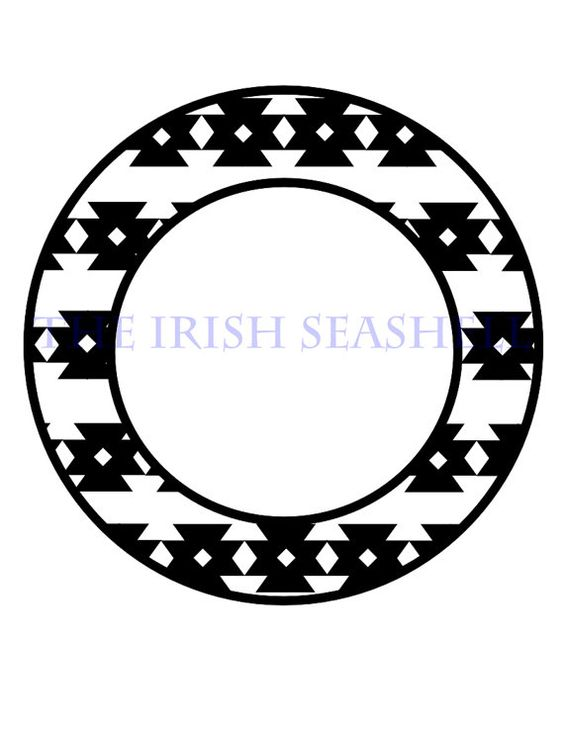 Aztec arrow circle clipart clip library download Aztec Tribal Monogram Frame dxf and svg for use with silhouette ... clip library download