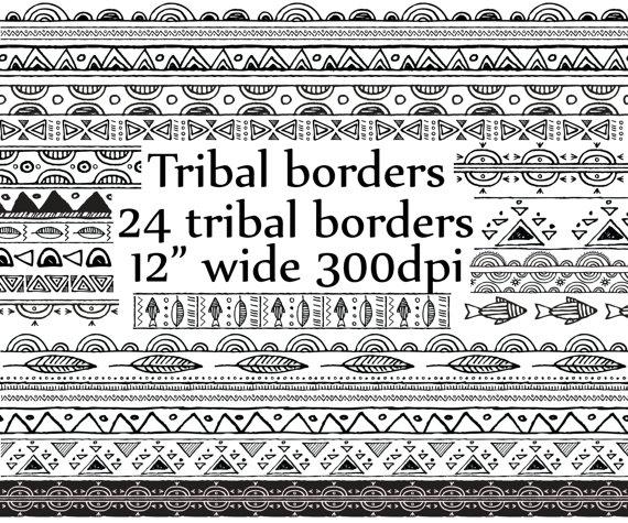 Tribal clipart borders clip royalty free Tribal border clipart: \