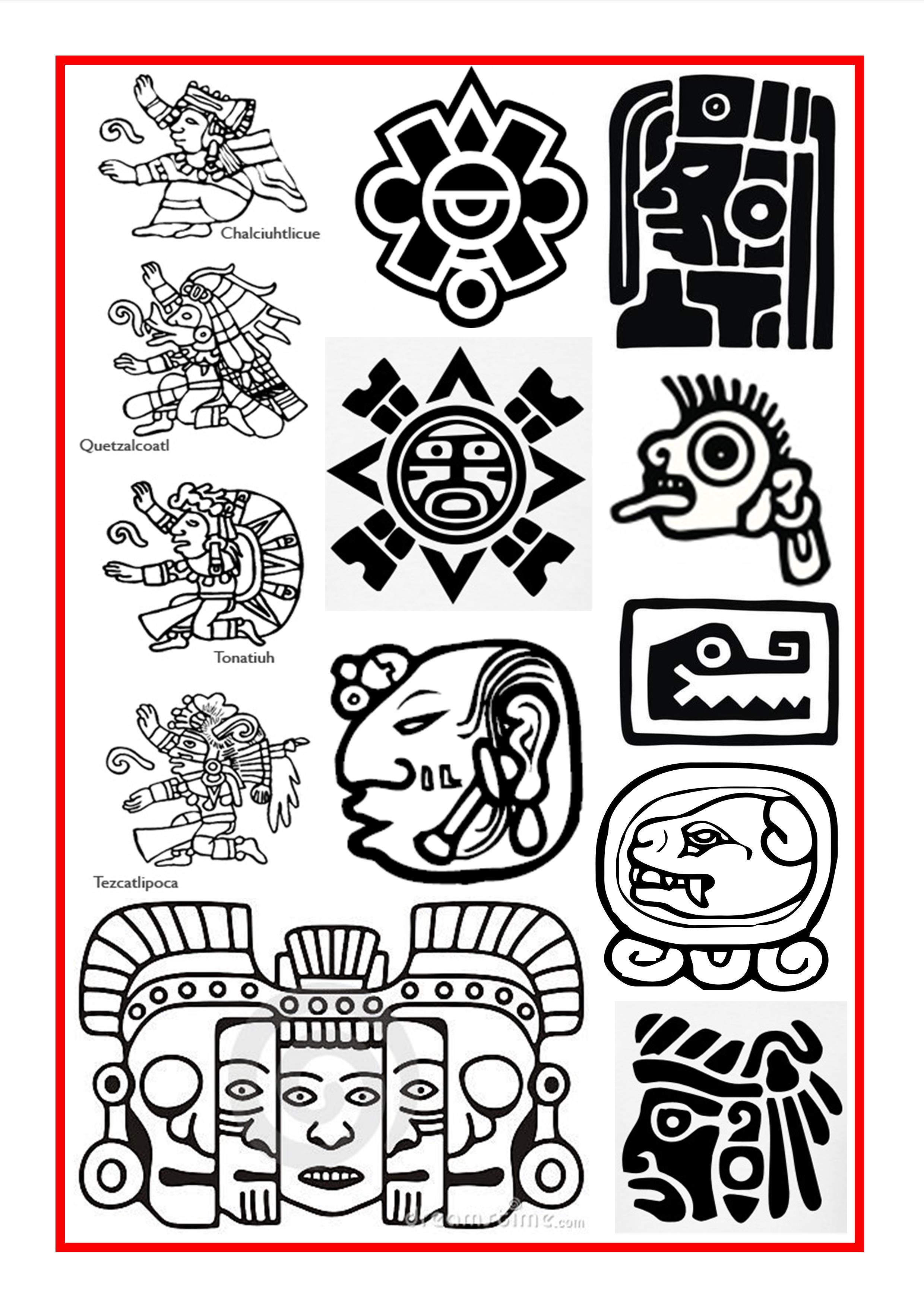 Aztec glyphs clipart banner free download Aztec and Mayan Symbols …   Tattoo ideas in 2019… banner free download