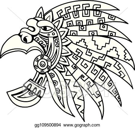 Aztec glyphs clipart svg library Vector Art - Aztec feathered headdress drawing black and white ... svg library