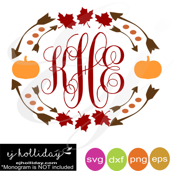 Pumpkin with monogram clipart clip transparent stock Fall Leaves and Pumpkins monogram frame svg dxf eps png VECTOR ... clip transparent stock