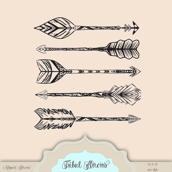 Aztec tribal arrow clipart graphic library stock 5 Hand Drawn Tribal Aztec Arrows Digital Clip Art - tribal pattern ... graphic library stock