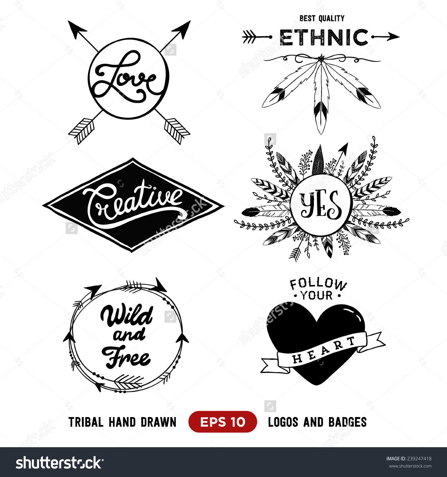 Aztec tribal arrow clipart vector freeuse download Hand Drawn Tribal Design Vector Elements Stock Vector 239247418 ... vector freeuse download
