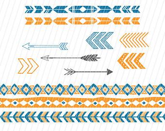 Aztec tribal arrow clipart clip black and white stock Aztec clip art | Etsy clip black and white stock