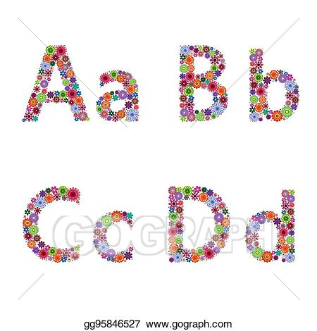 B and d clipart graphic free library Vector Stock - Alphabet with flowery letters a, b, c, d. Clipart ... graphic free library