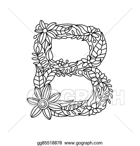 B clipart for coloring png library library EPS Illustration - Letter b coloring book for adults vector. Vector ... png library library